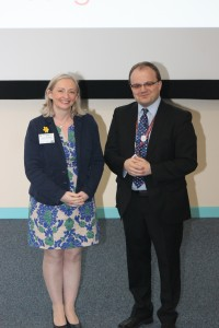 Primary Language Teacher of the Year 2015, Catherine Rodrigues with ALL's President Rene Koglbauer